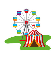 ferris wheel and tent carnival fun fair vector image
