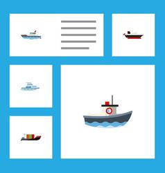 flat icon vessel set of sailboat cargo tanker vector image