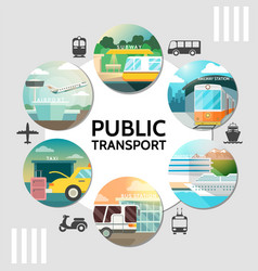 flat public transport round concept vector image