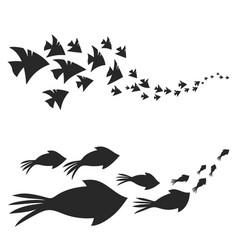 Flock of marine animals swimming vector