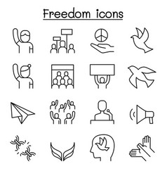 Freedom peace protest demonstration icon set in vector