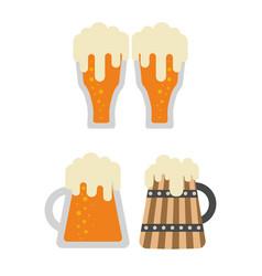 full glass and foam mug beer vector image
