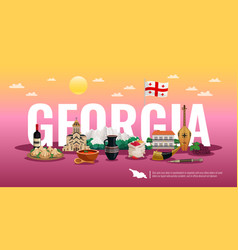 Georgia tourism horizontal composition vector