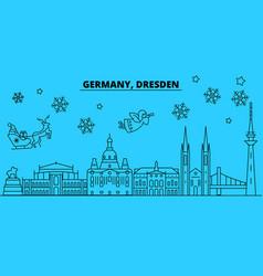 Germany dresden winter holidays skyline merry vector