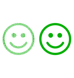 glad smiley composition of binary digits vector image