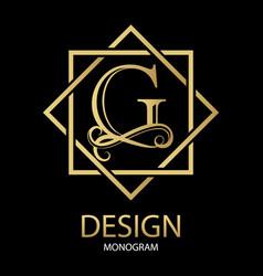 golden letter g monogram on black vector image