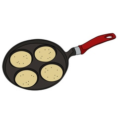 Griddle with pancakes vector