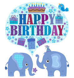 Happy birthday theme with elephants 2 vector
