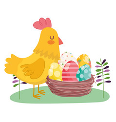 happy easter hen with basket filled eggs vector image
