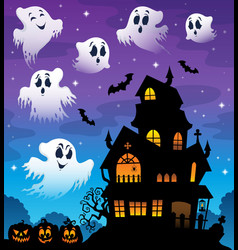 haunted house silhouette theme image 7 vector image