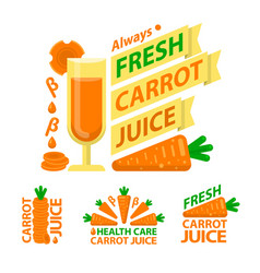 healthy carrot juice badge emblems vector image