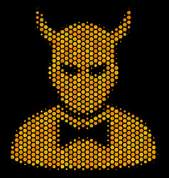 hexagon halftone devil icon vector image