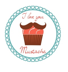 I love your mustach concept card vector