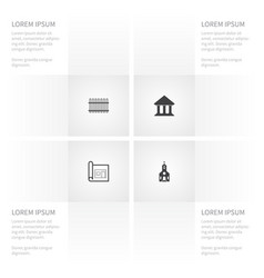 icon construction set of architectural library vector image