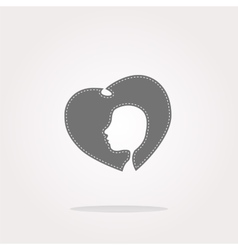 icon with heart and woman head web vector image