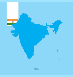 India country map with flag over blue background vector