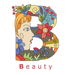 Letter B beauty vector image