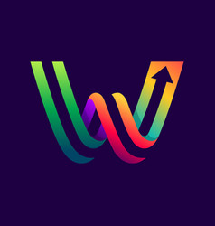 letter w logo with arrow inside vector image