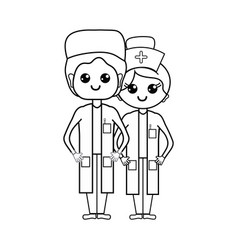 Line doctor and nurse to help people vector