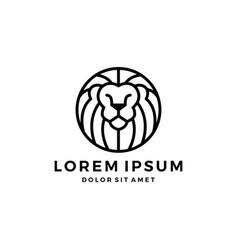lion logo head round emblem badges outline line vector image