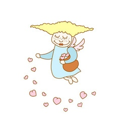 little cartoon flying girl with hearts vector image