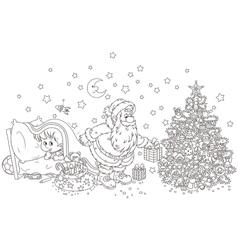 Little child watching Santa vector