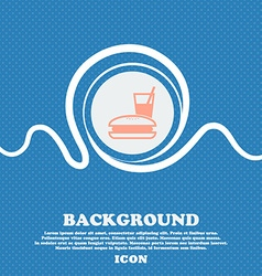 lunch box sign icon Blue and white abstract vector image