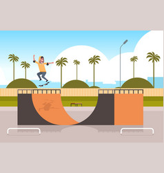 male skater performing tricks in public skate vector image