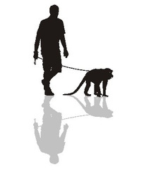 Man with a monkey on a leash vector