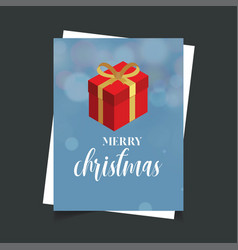 merry christmas gift box blue background vector image