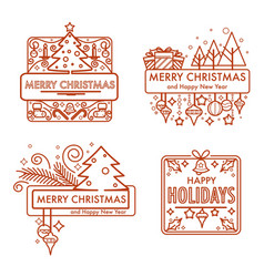 merry christmas monochrome sketches with gifts and vector image