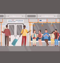 Metro subway train public transport flat vector