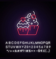 Muffins neon light icon vector