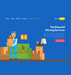 packing and moving services landing page template vector image