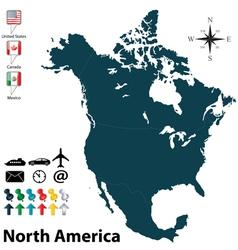 Political map north america vector