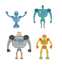 Robots Set Space invaders Cyborgs Iron colored vector