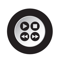 round black white icon - music control buttons vector image