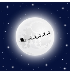 Santa Claus goes to sled reindeer of the moon vector