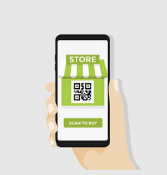 scan to buy smartphone with qr code vector image