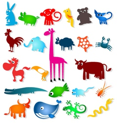 Set cartoony animals vector