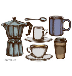 set hand drawn colored coffee cups vector image