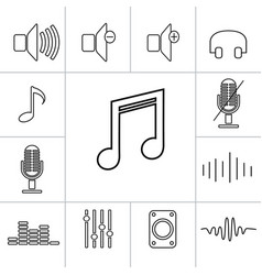 Set of outline music icons linear vector