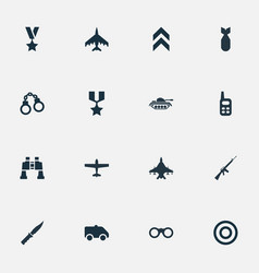set of simple terror icons vector image