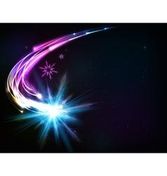 shining snowflake meteor vector image