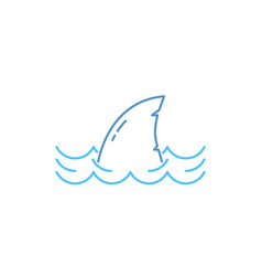 Simple thin line shark in wave icon vector
