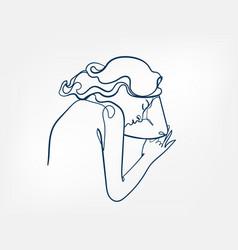 Sleep hair girl line art single line isolated vector