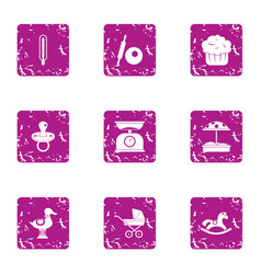 small child icons set grunge style vector image