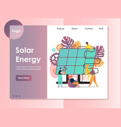 Solar energy website landing page design vector