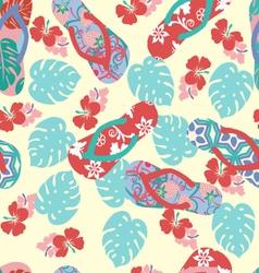 summer background with flower and flip flops vector image