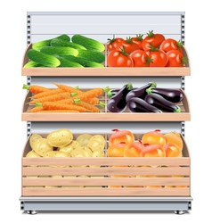 Supermarket Shelf with Vegetables vector